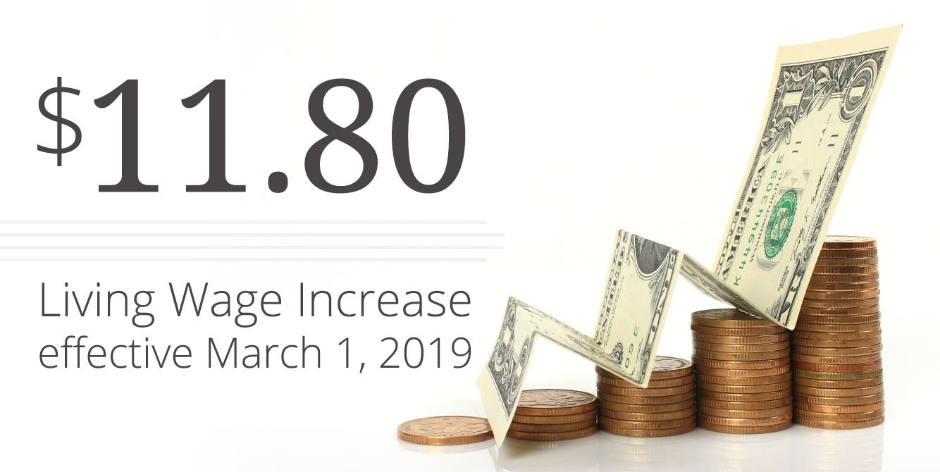 Living Wage Increase to $11.80