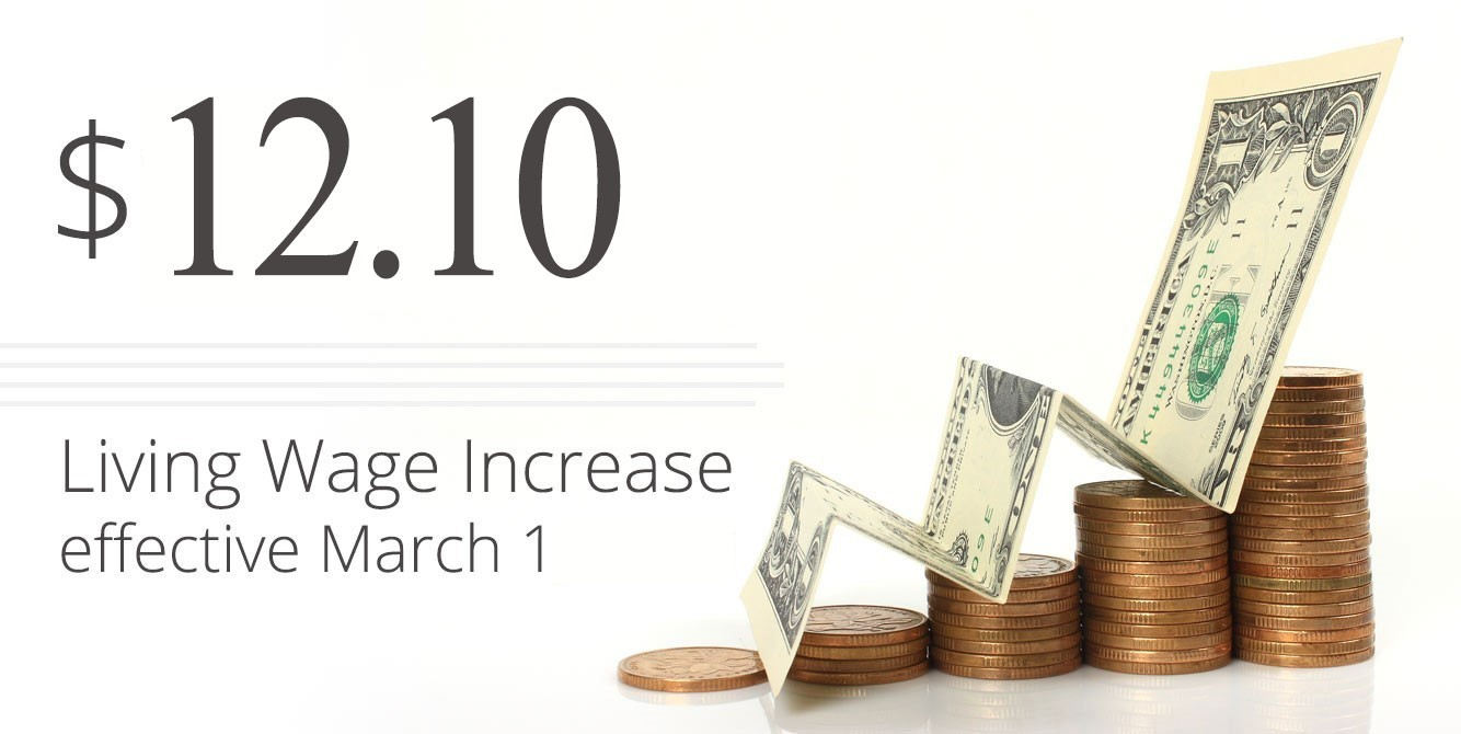 Living Wage Increase to $12.10