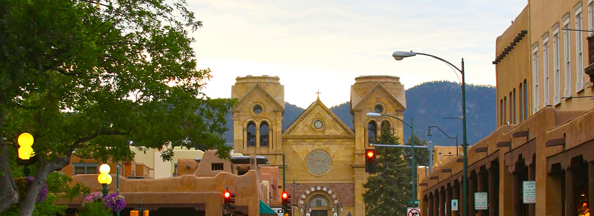 The Historic Santa Fe Plaza and the St Francis Cathedral Basilica