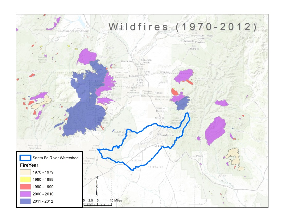 Image of Wildfires map 1970-2012