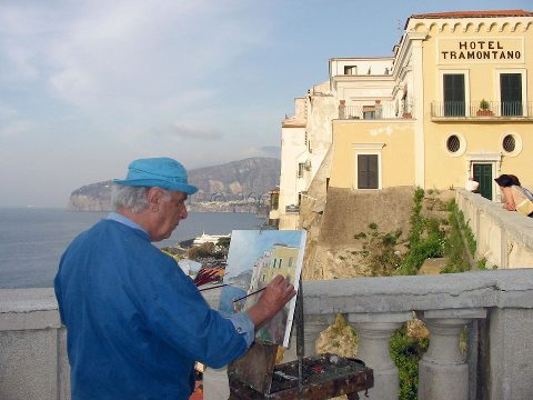 Domenico Fiorentino painting the Hotel Tramontano, which has hosted many artists and writers over the centuries.