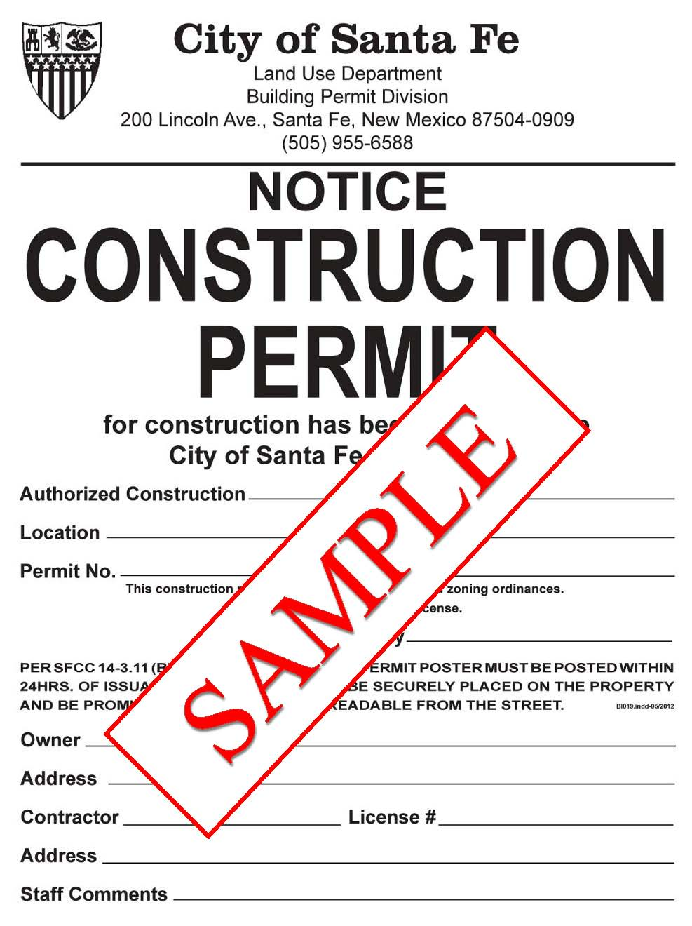Building Permits City Of Santa Fe New Mexico Electrical House Wiring Symbols Sample Construction Permit Poster