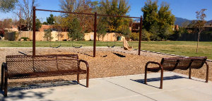 Photo of benches and play area at Galisteo Park